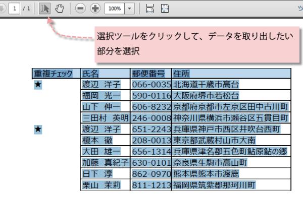 PDFのデータをExcelに変換1