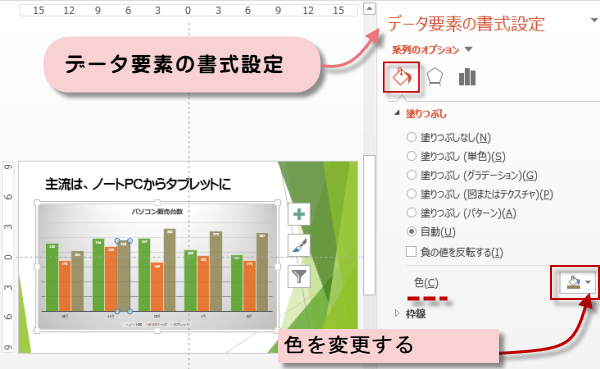 縦棒グラフの色を変更
