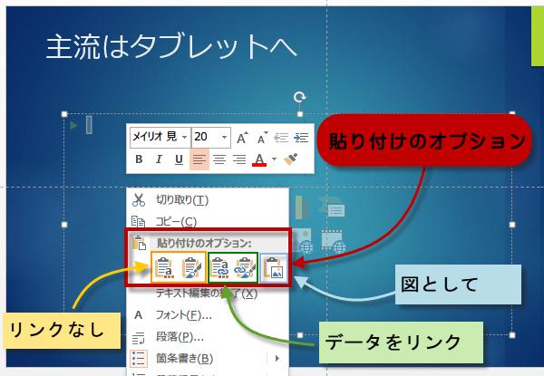 Excelグラフの貼り付けのオプション