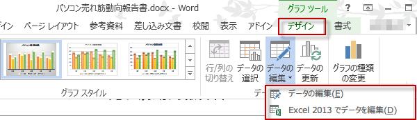 WORDに貼り付けたデータを編集
