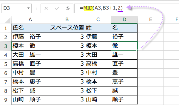 文字を抽出するMID関数使い方3