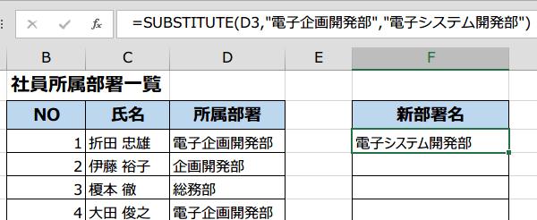 SUBSTITUTE関数で置換