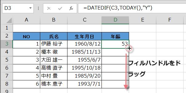 生年月日から年齢を計算5
