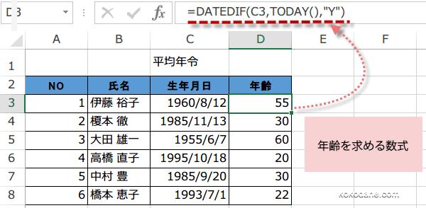 平均年令の出し方1
