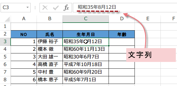 和暦が文字列