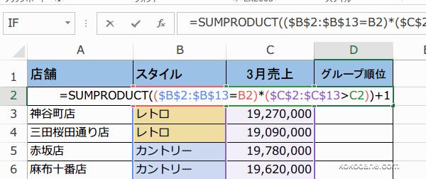 SUMPRODUCT関数で条件別の順位をだす2