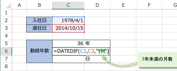 勤続年数の式2