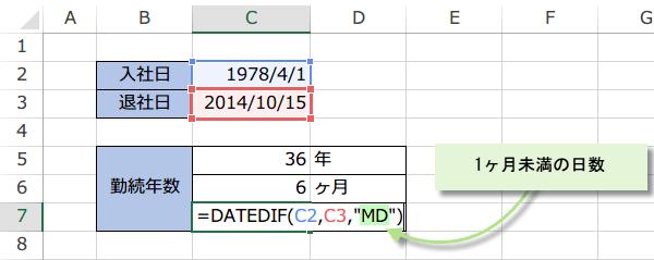 勤続年数の式3