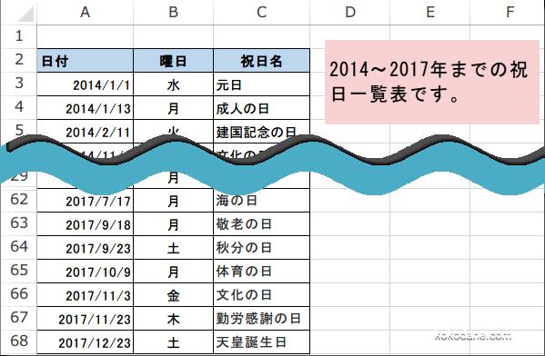 2014~2017年までの祝日一覧表