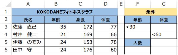 DCOUNT関数の使い方2