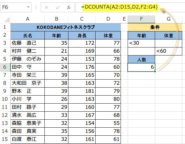 DCOUNT関数の使い方3
