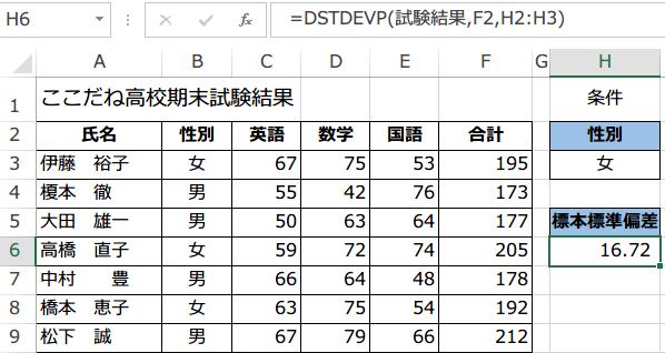 DSTDEVP関数使い方4