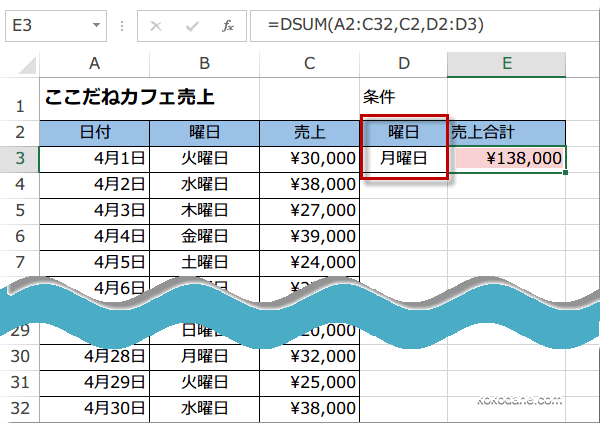 DSUM関数使い方3