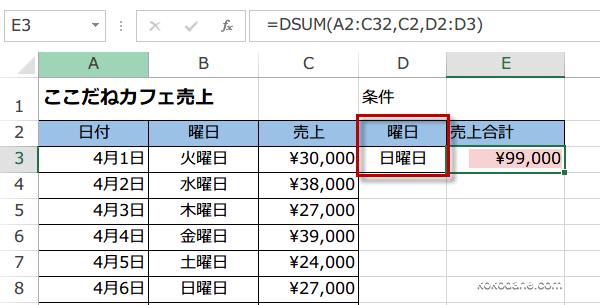 DSUM関数使い方5