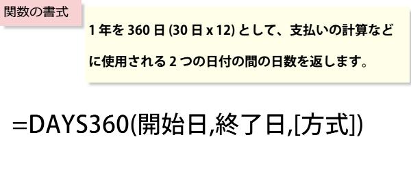DAYS360関数書式