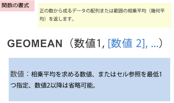 GEOMEAN関数の書式