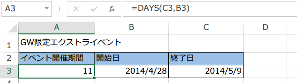 イベントの開催期間が算出された