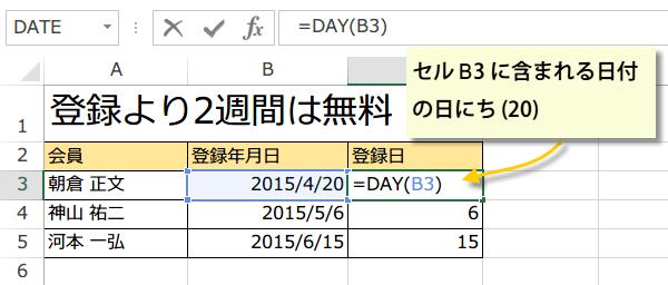 DAY関数で日付から日