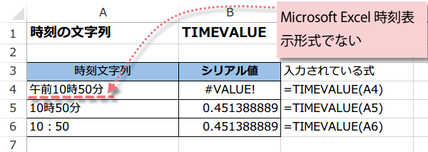 TIMEVALUE関数の使い方1