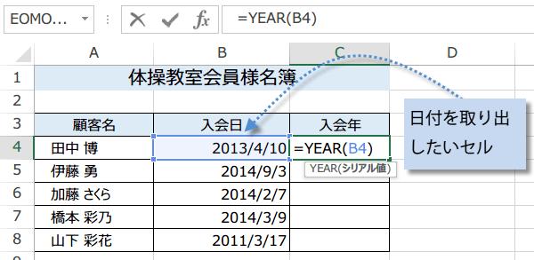 YEAR関数の使い方1