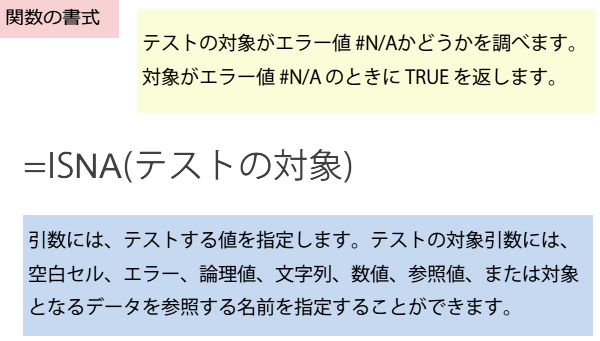 ISNA関数の書式