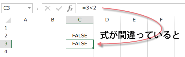 Excel FALSE関数2