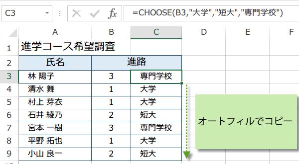 CHOOSE関数の使い方4