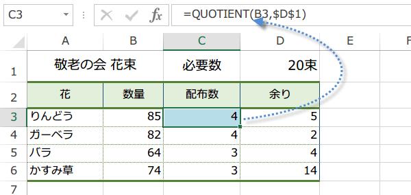 QUOTIENT関数の使い方2