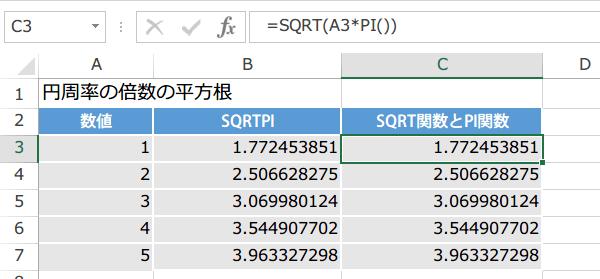 SQRTPI関数の使い方2