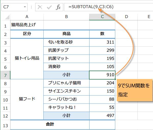 SUBTOTAL関数の使い方2