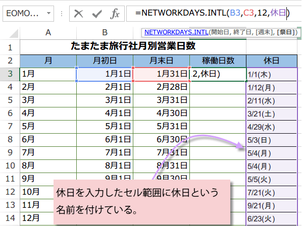 NETWORKDAYS.INTL関数の使い方4
