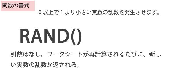 RAND関数の書式