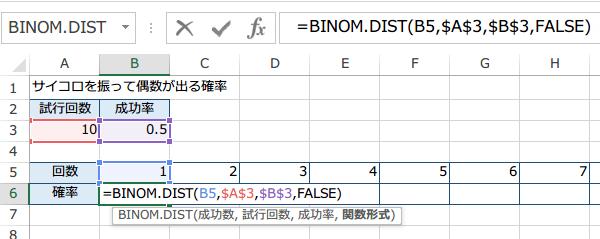 BINOM.DIST関数の使い方5