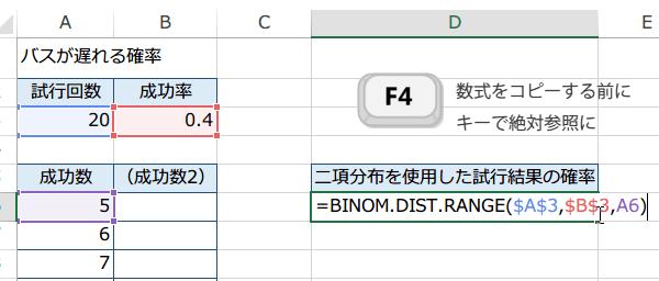 BINOM.DIST.RANGE関数の使い方5