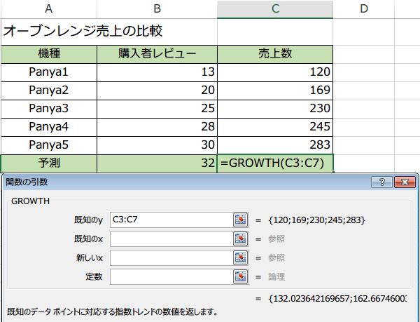 GROWTH関数の使い方4