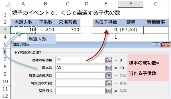 HYPGEOM.DIST関数の使い方3