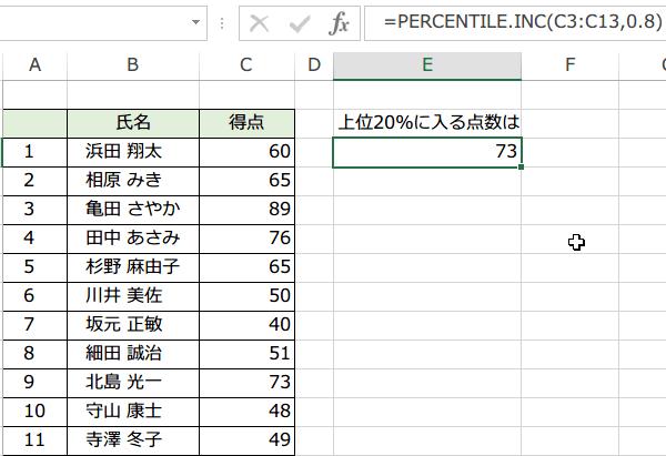 PERCENTILE.INC関数の使い方4