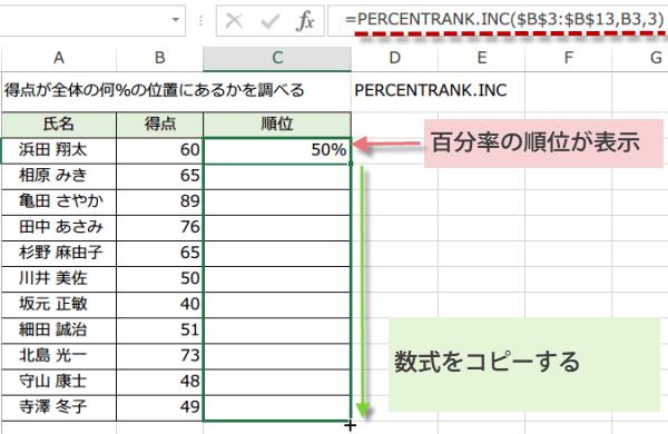PERCENTRANK.INC関数の使い方4