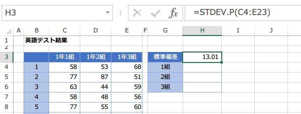 STDEV.P関数の使い方5