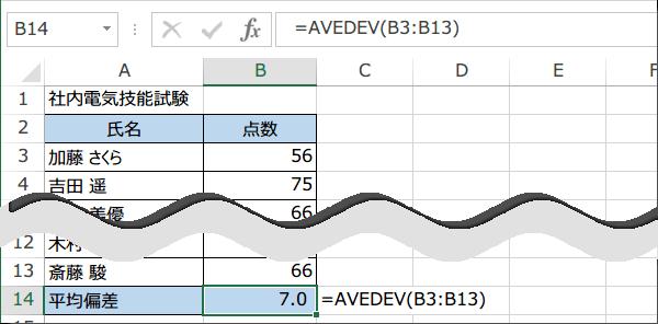 AVEDEV関数の使い方4