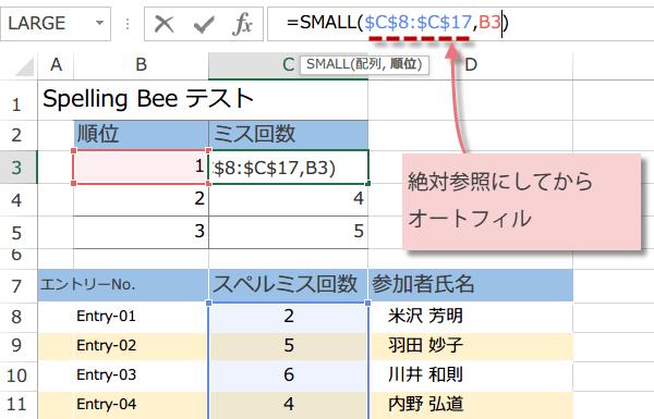 SMALL関数の使い方5