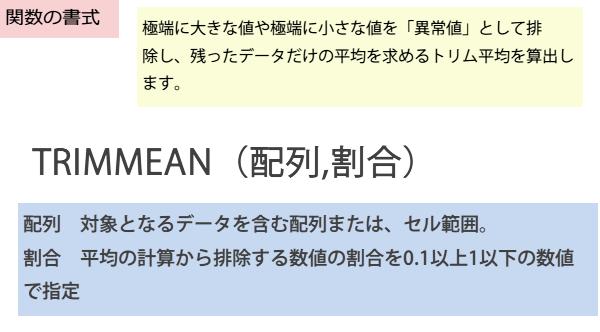 TRIMMEAN関数の書式