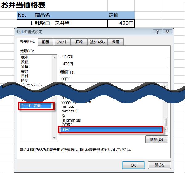 表示形式のユーザー定義