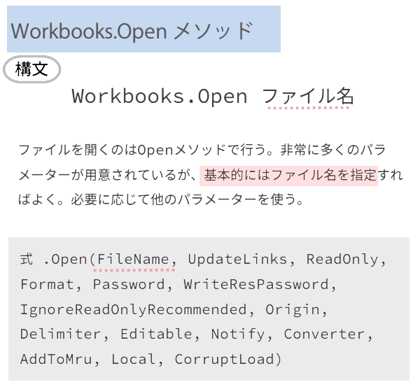 Workbooks.Openメソッド