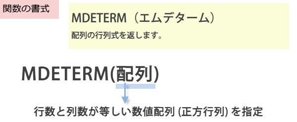 MDETERM関数の書式