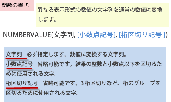 NUMBERVALUE関数の書式