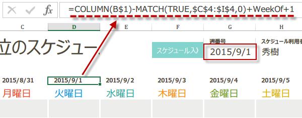 Excelで日単位のスケジュール作成方法5