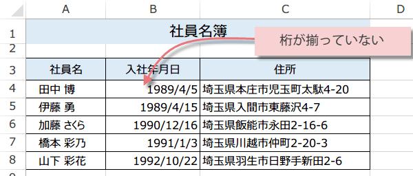 日付の桁を揃える方法1