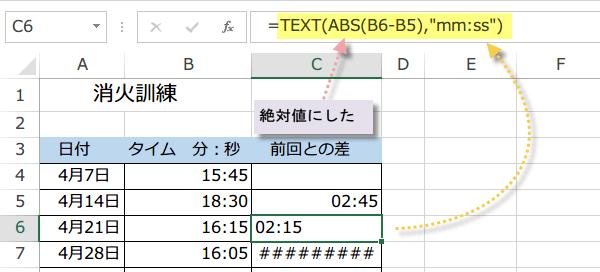 関数で時間の引き算のマイナスを表示2