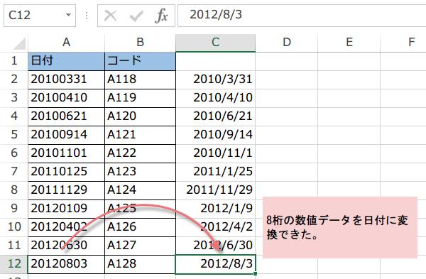 >8桁の数値データを日付に変換